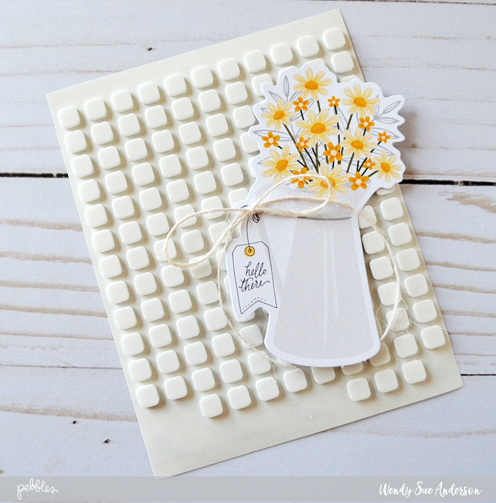 """step-by-step instructions by @wendysue for creating a pretty layered card with the """"Simple Life"""" collection by @PebblesInc."""