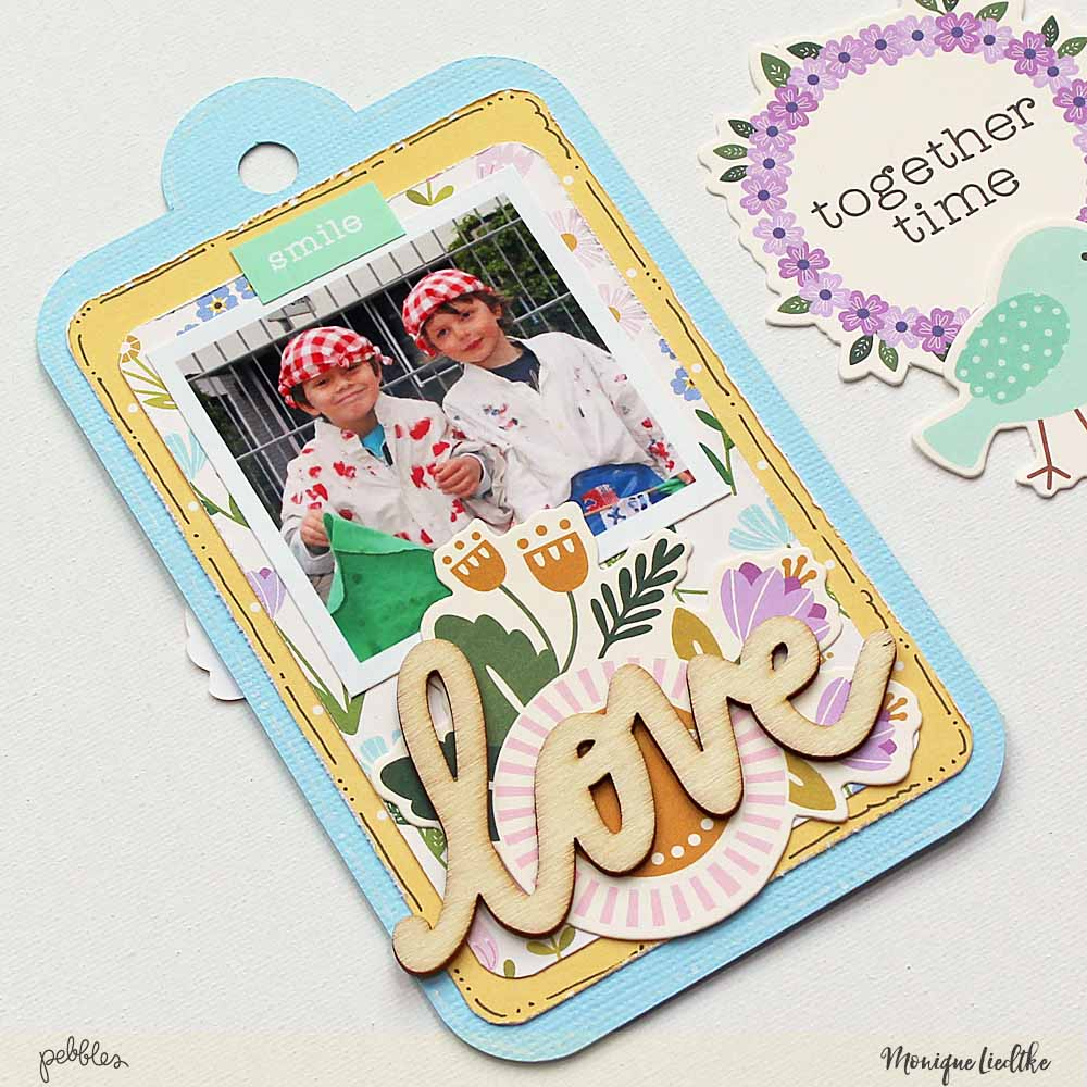 """Tealightful DIY tag mini album created by @moniqueliedtke with the """"Tealightful"""" collection by @PebblesInc #madewithpebbles #pebblesinc #tag_mini_album"""