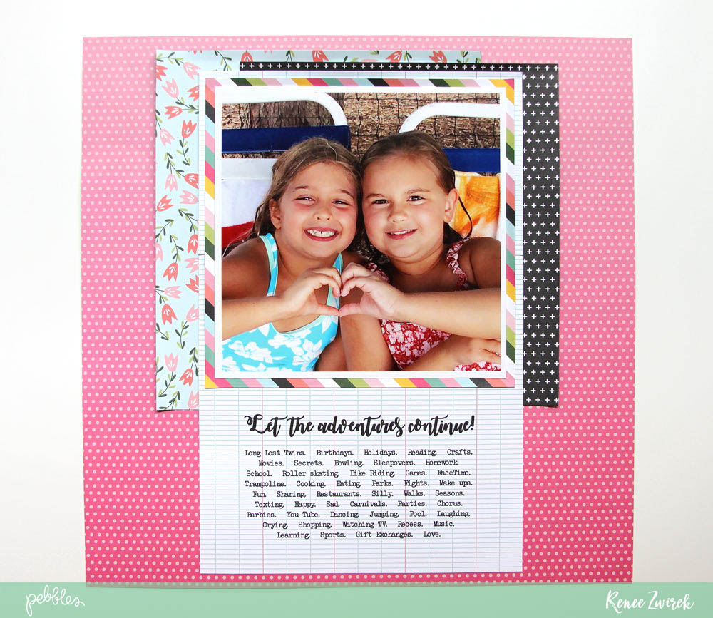 Celebrate friendship and unconditional love with this Best Friends layout by @reneezwirek using the #GirlSquad collection by @pebblesinc