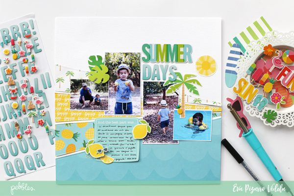 Scrap your summer photos with this step by step sunburst layout by @evapizarrov and @pebblesinc new line #sunshinydays #madewithpebbles #pebblesinc
