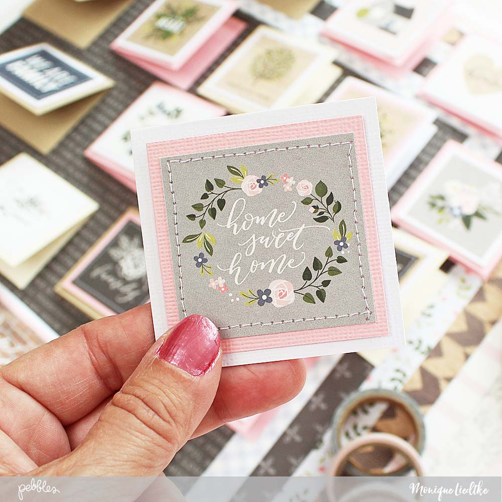 Heart of Home mini cards created by @moniqueliedtke with the #Heart_Of_Home collection by @PebblesInc #madewithpebbles #pebblesinc #heart_of_home_mini_cards