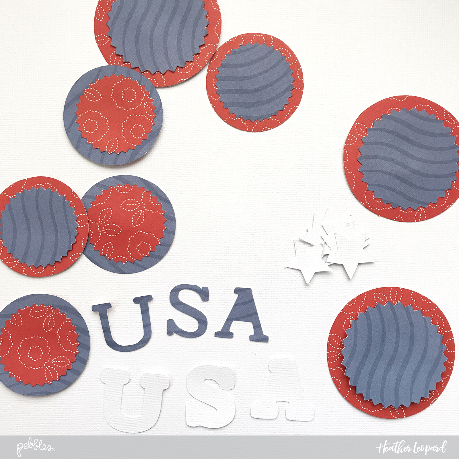 Red, white and blue Patriotic celebration themed party decor by @heatherleopard using @PebblesInc patterned papers. #madewithpebbles #heatherleopard #patriotic #4thofjuly #4thofjulyparty #patrioticparty