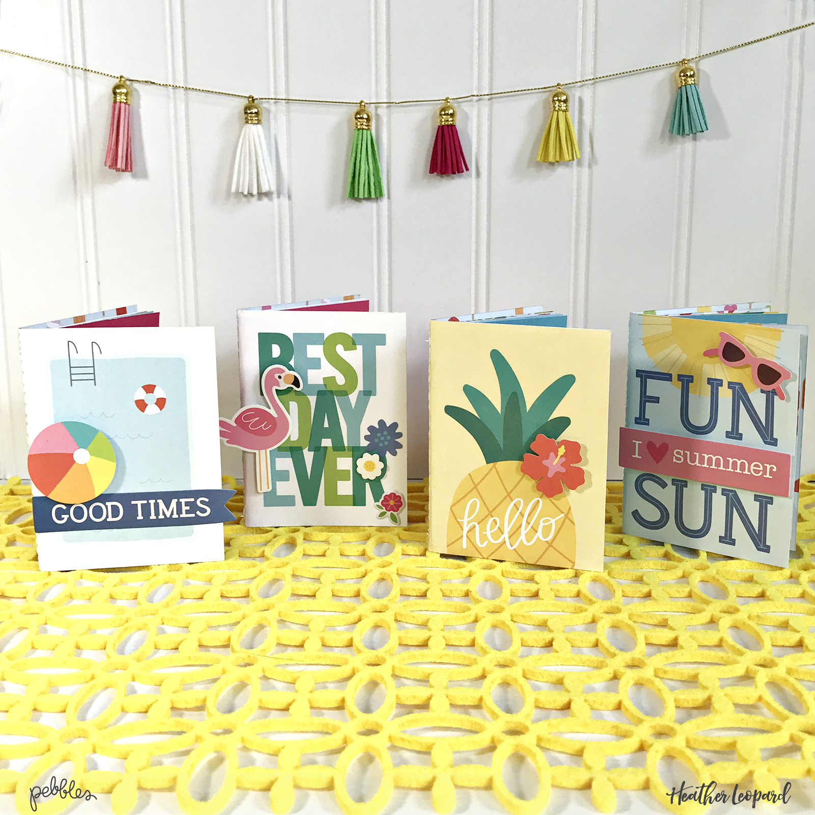 Quick Gift Idea for Summer - Mini Summer Traveler's Notebooks by @heatherleopard using @Pebblesinc #sunshinydays collection #madewithpebbles #summer #quickgift #gift #TN #travelersnotebook