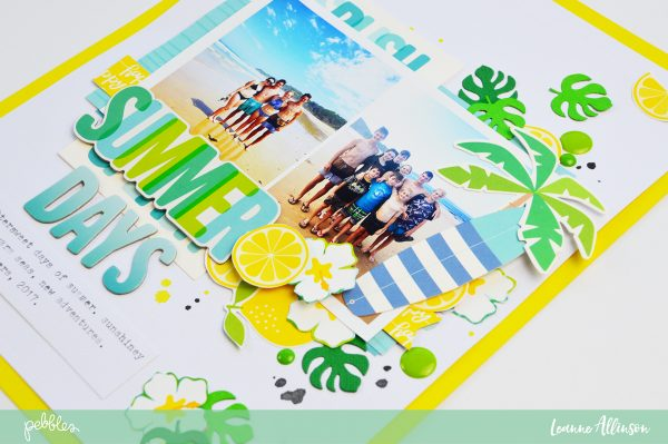 @leanne_allinson creates a fun Sunshiny Days layout using @PebblesInc #SunshinyDaysCollection for her #layout.