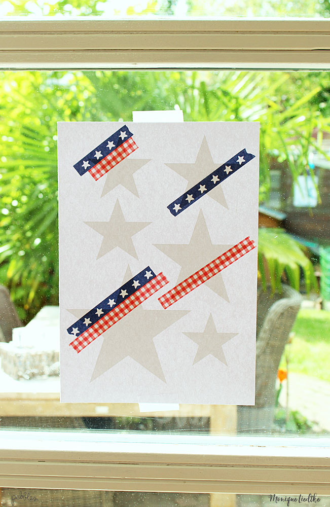 Red, white and blue washi tape stars layout created by @moniqueliedtke with the #America_the_Beautiful collection by @PebblesInc #madewithpebbles #pebblesinc #red_white_blue_washi_tape_stars_layout