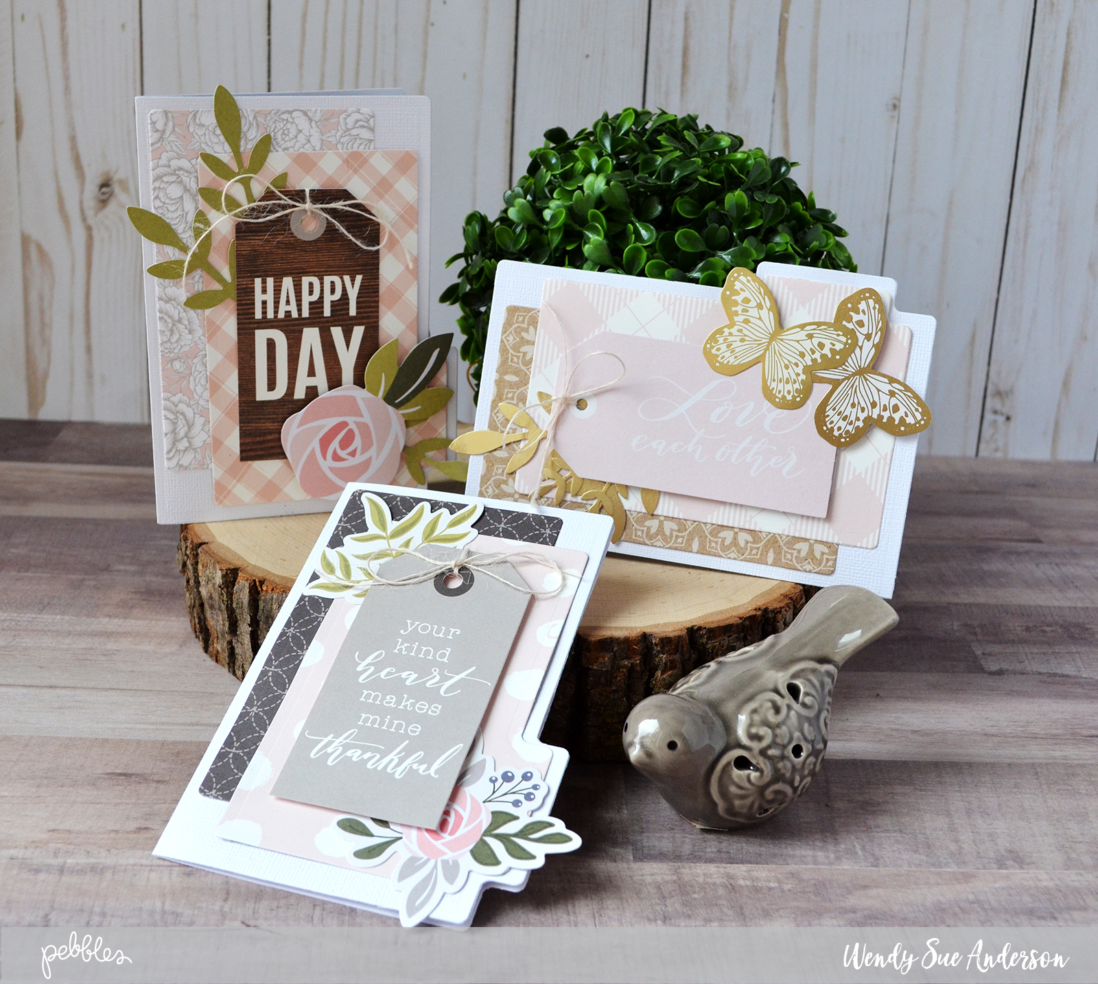 "Layered card trio by @wendysuea with the ""Heart of Home"" collection by @PebblesInc."