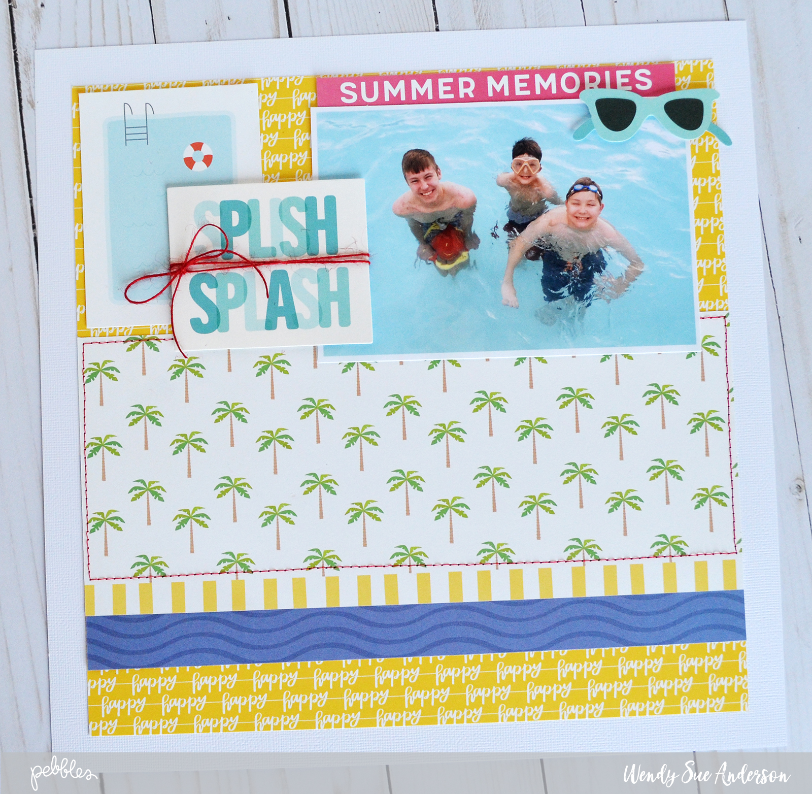 """Quick and Easy """"Sunshiny Days"""" summer pool layout by @wendysuea for @pebblesinc."""
