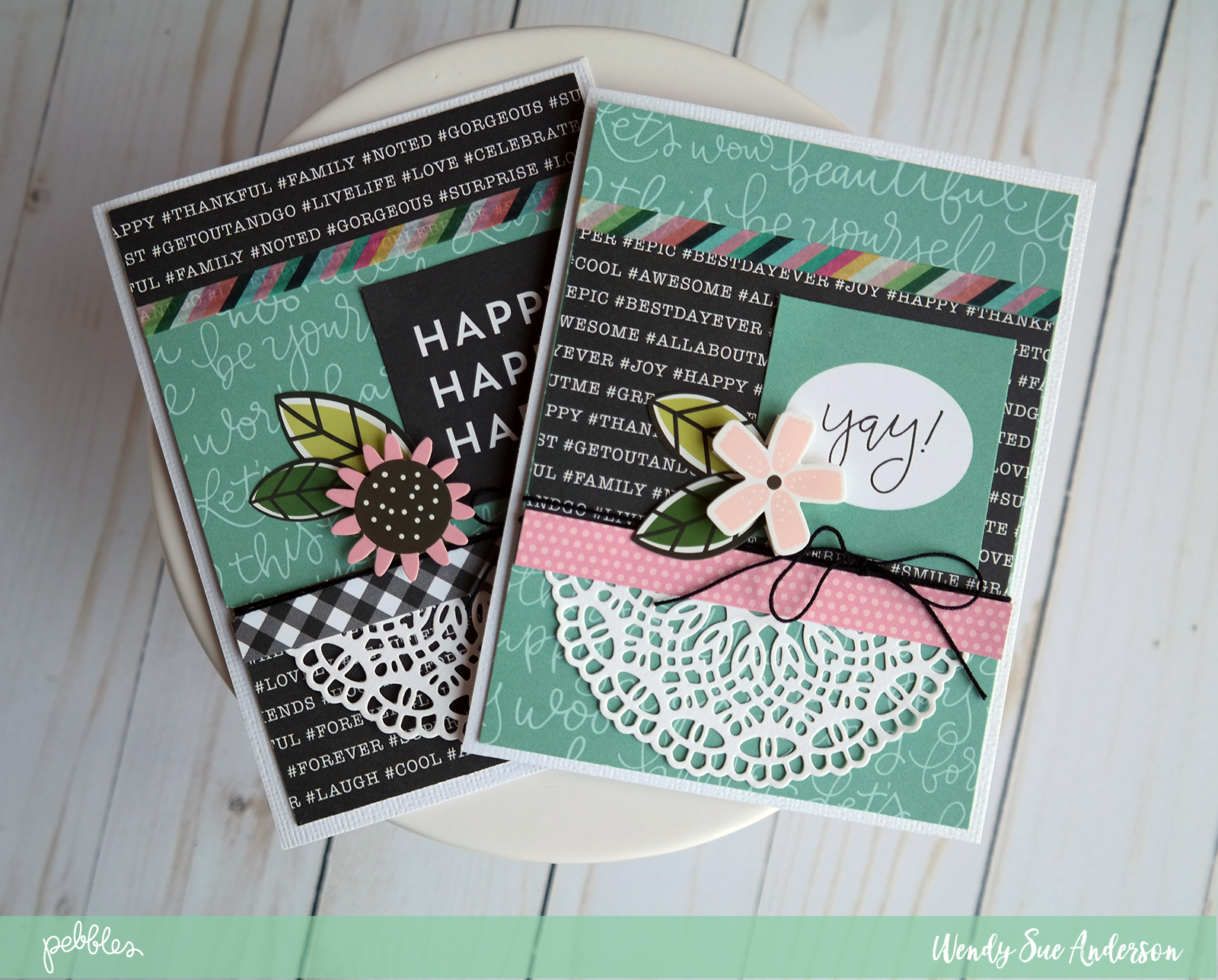 """Let the journaling on the patterned papers say it for you - like these cards by @WendysueA featuring the """"Girl Squad"""" collection by @PebblesInc."""