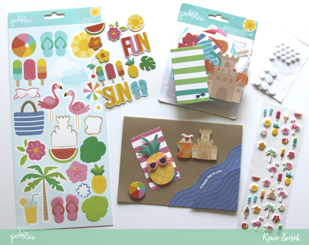 Send happy mail this summer with Beach Day cards by @reneezwirek using the #sunshinydays collection by @pebblesinc