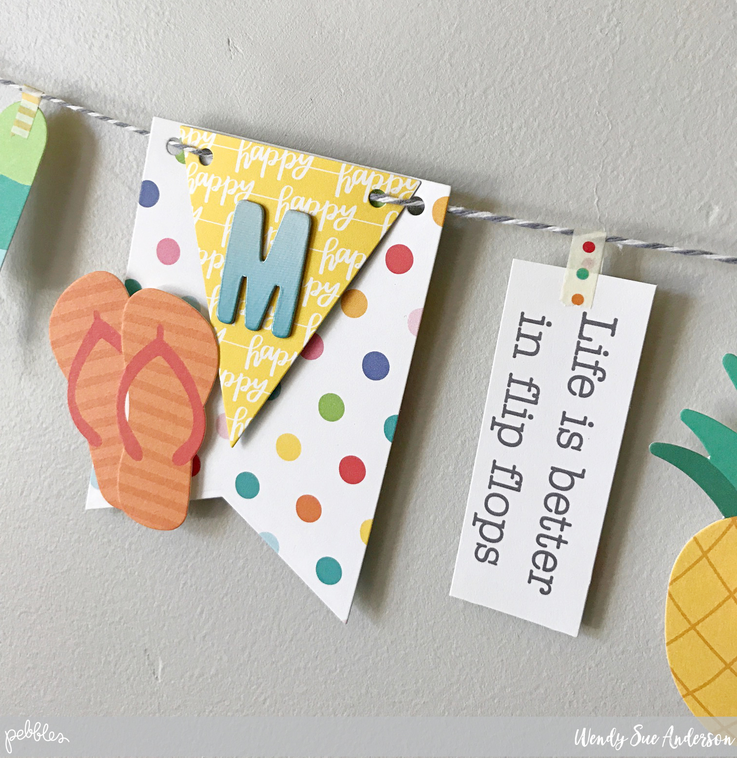 "Create a DIY Summer Banner like this one by @WendySueA with the ""Sunshiny Days"" collection by @PebblesInc."
