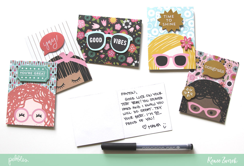 Send your kids to school with words of love and encouragement with these DIY Lunchbox Note Cards by @reneezwirek using the #GirlSquad collection by @pebblesinc
