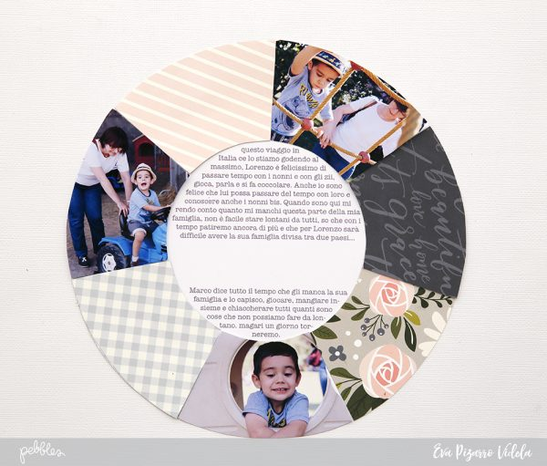 Create a circle layout with a few pictures and your favorite patterns from the #heartofhome collection by @pebblesinc. Tutorial by @evapizarrov #madewithpebbles #pebblesinc