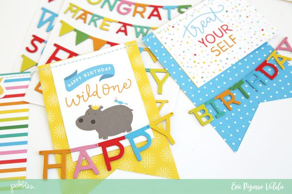 @evapizarrov shows you hot to create a quick birthday banner with @pebblesinc newst line #HappyHorray and the #bannerpunchboard by @wermemorykeeper