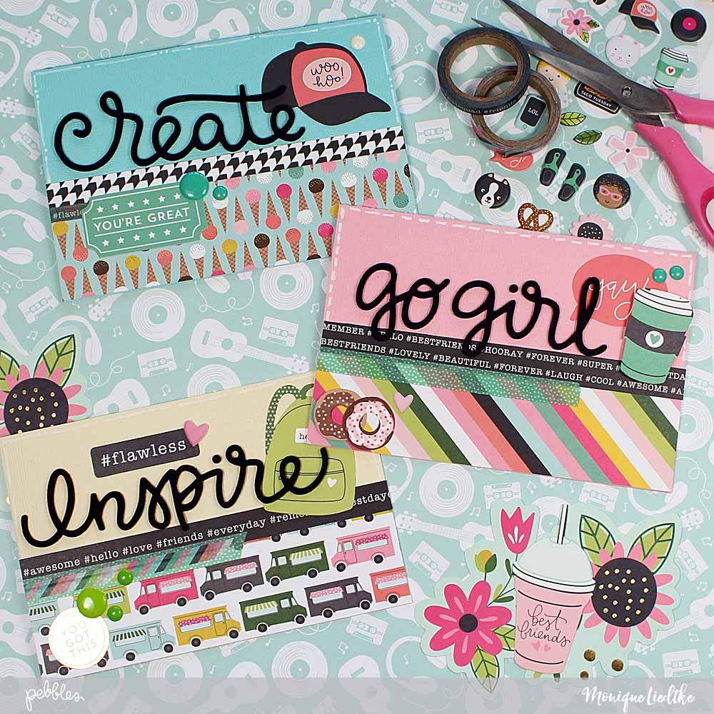Back to School cards inspiration created by @moniqueliedtke with the #Girl_Squad_collection by @PebblesInc #madewithpebbles #pebblesinc #back_to_school_cards