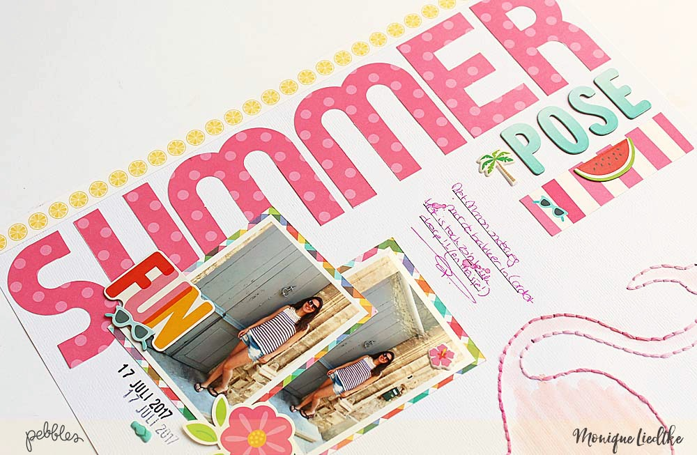 Sunshiny Days Summer Vacation Layout created by @moniqueliedtke with the #Sunshiny_Days collection by @PebblesInc #madewithpebbles #pebblesinc #summer_vacation_scrapbook_layout