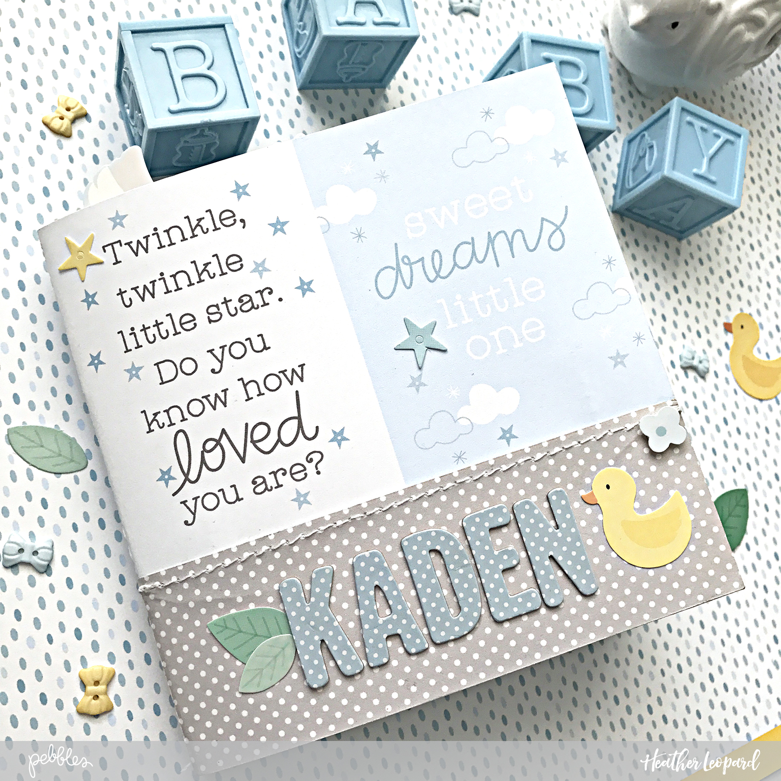 milestones baby gift | mini album by Heather Leopard using @pebblesinc #lullaby collection #madewithpebbles #scrapbooking #minialbum #scrapbook #baby #babymilestones