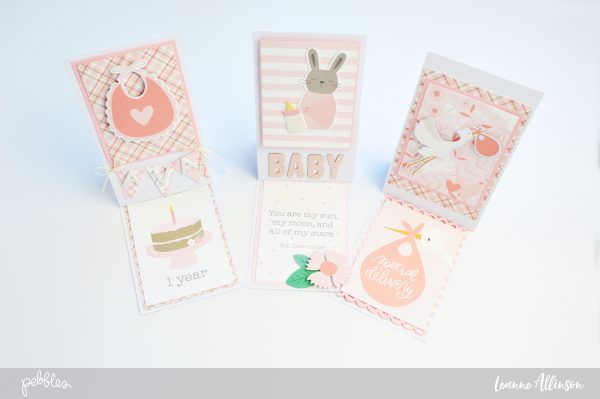 Create a set of three Baby Girl Lullaby cards using @pebblesInc supplies!
