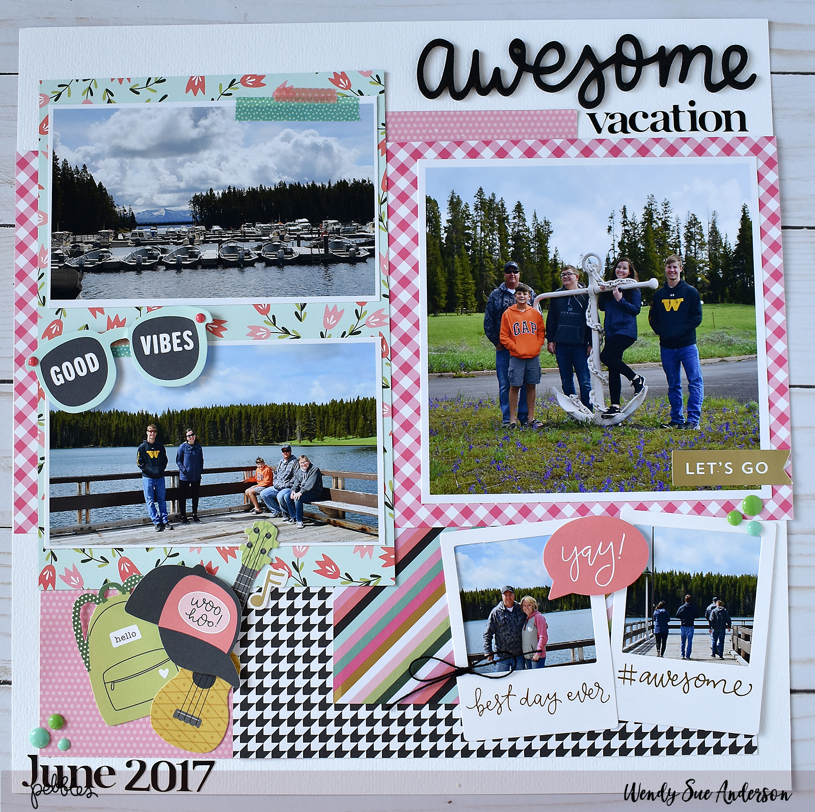 "Create a scrapbook page documenting a family vacation like this layout by @WendySueA with the ""Girl Squad"" collection by @PebblesInc."