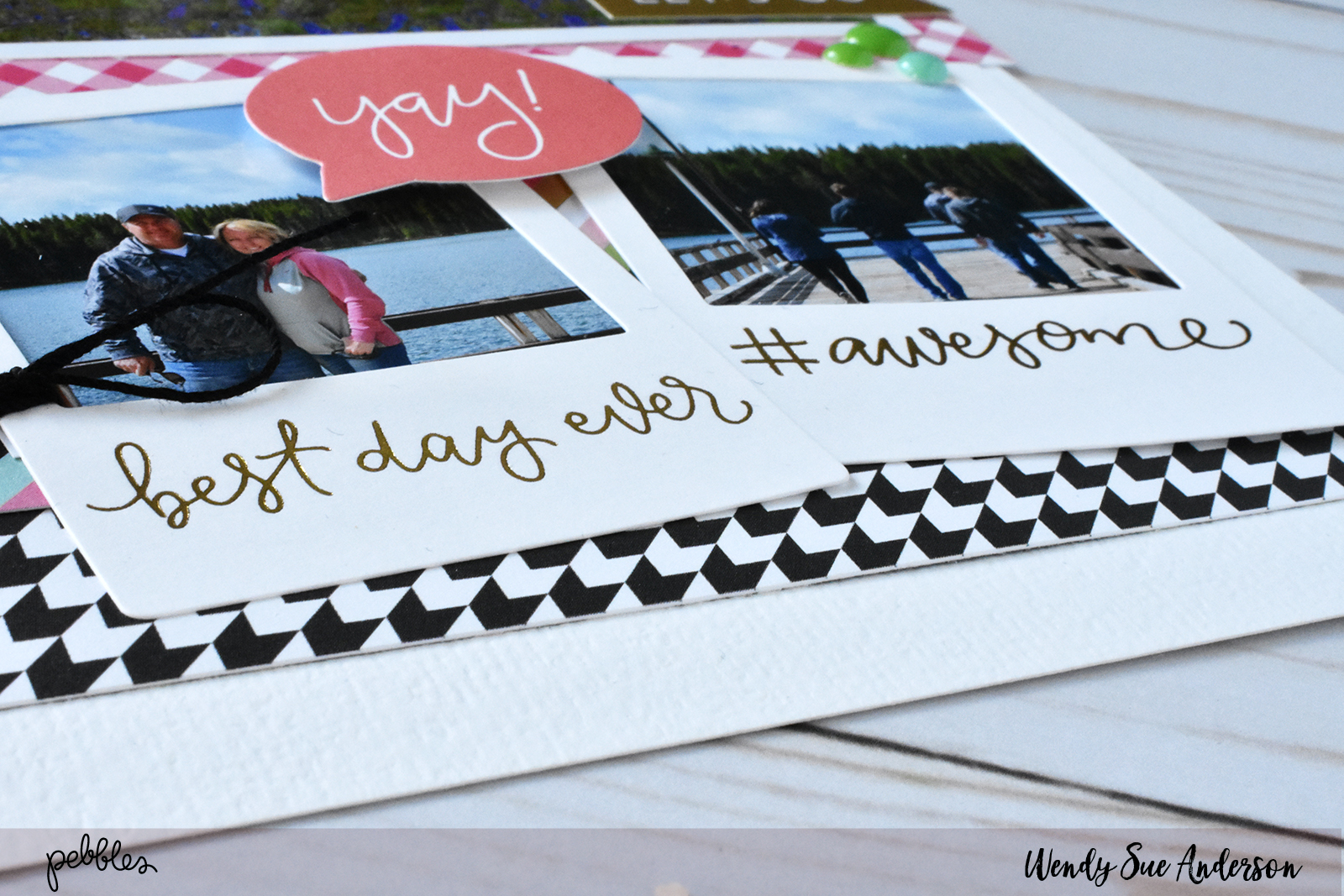 """Scrapbook a family vacation like this layout by @WendySueA with the """"Girl Squad"""" collection by @PebblesInc."""