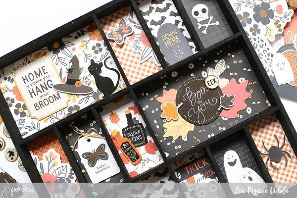 Create a spooky Halloween Shadowbox with this tutorial from @evapizarrov using @pebblesinc #midnighthauting line! #madewithpebbles #pebblesinc