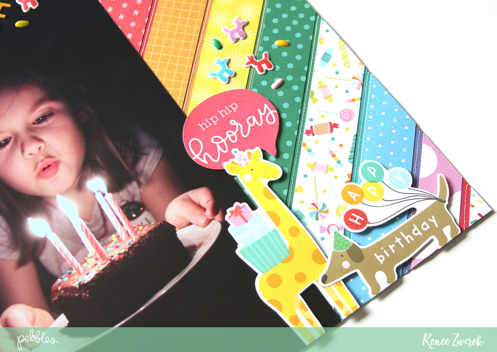 Scrapbook your favorite birthday memories with this Make A Wish layout by @reneezwirek using the #HappyHooray collection by @pebblesinc