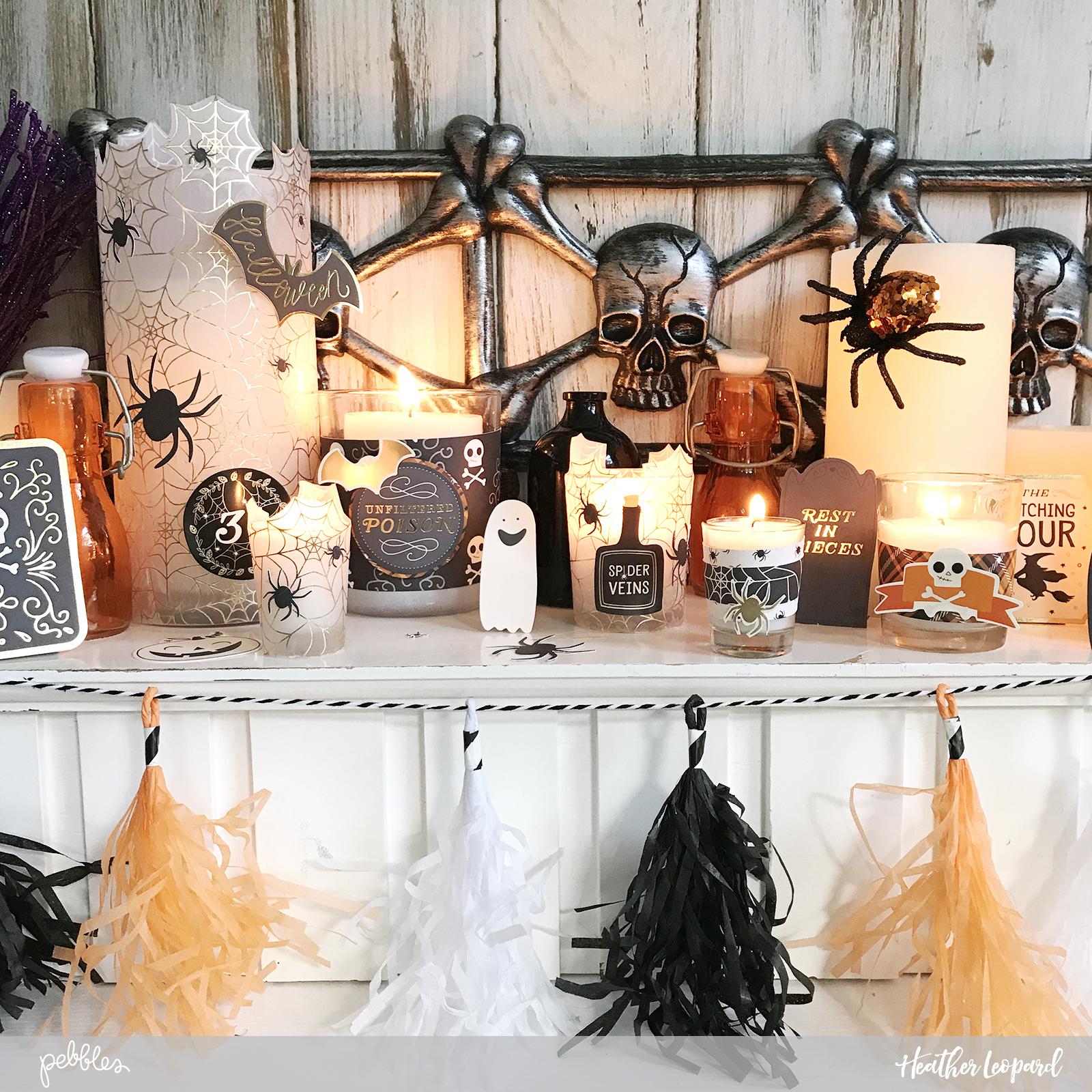 DIY Candle Decor by @heatherleopard using @pebblesinc #MidnightHaunting #DIY #Halloween #madewithpebbles #heatherleopard #halloweendecor