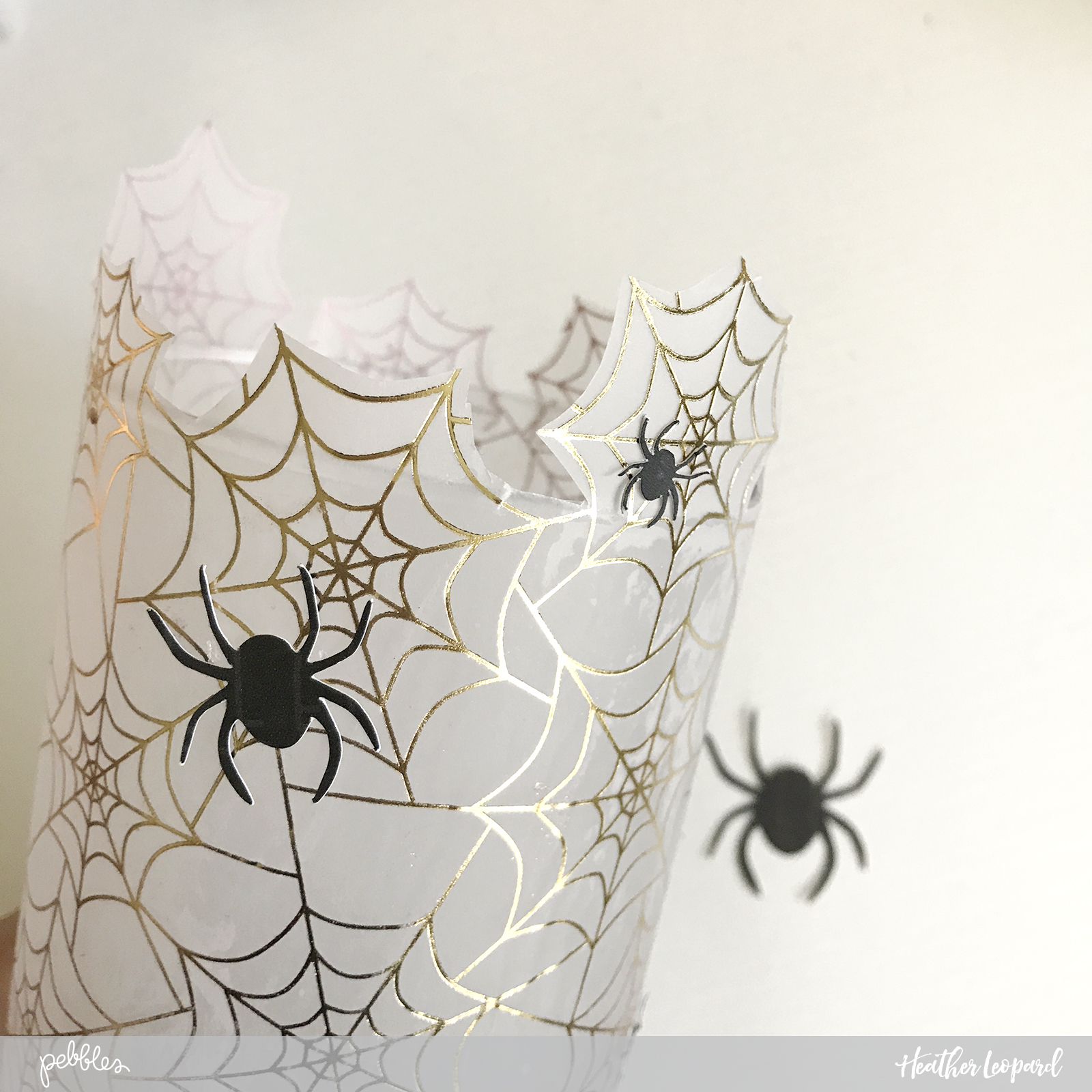DIY Candle Decor by @heatherleopard using @pebblesinc #MidnightHaunting #DIY #Halloween #madewithpebbles #heatherleopard #halloweendecor