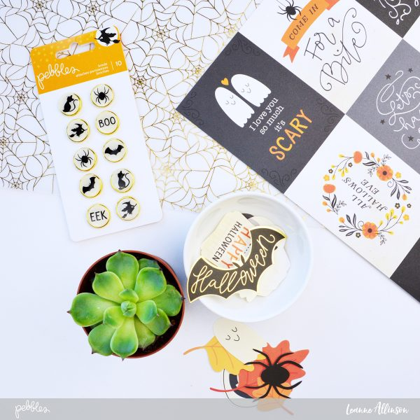 Create some fun Halloween Cards using @PebblesInc #MidnightHaunting with a step by step guide as shared by @leanne_allinson.