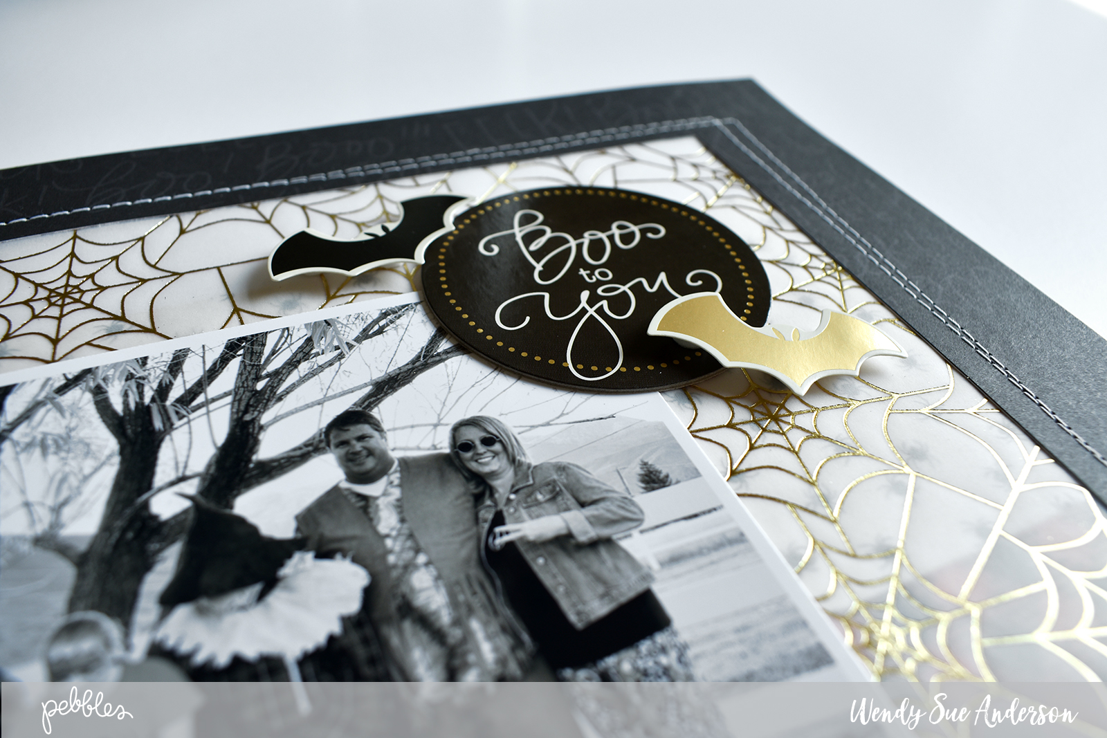 "Halloween Layout by @WendySueA featuring the ""Midnight Haunting"" collection from @PebblesInc !"