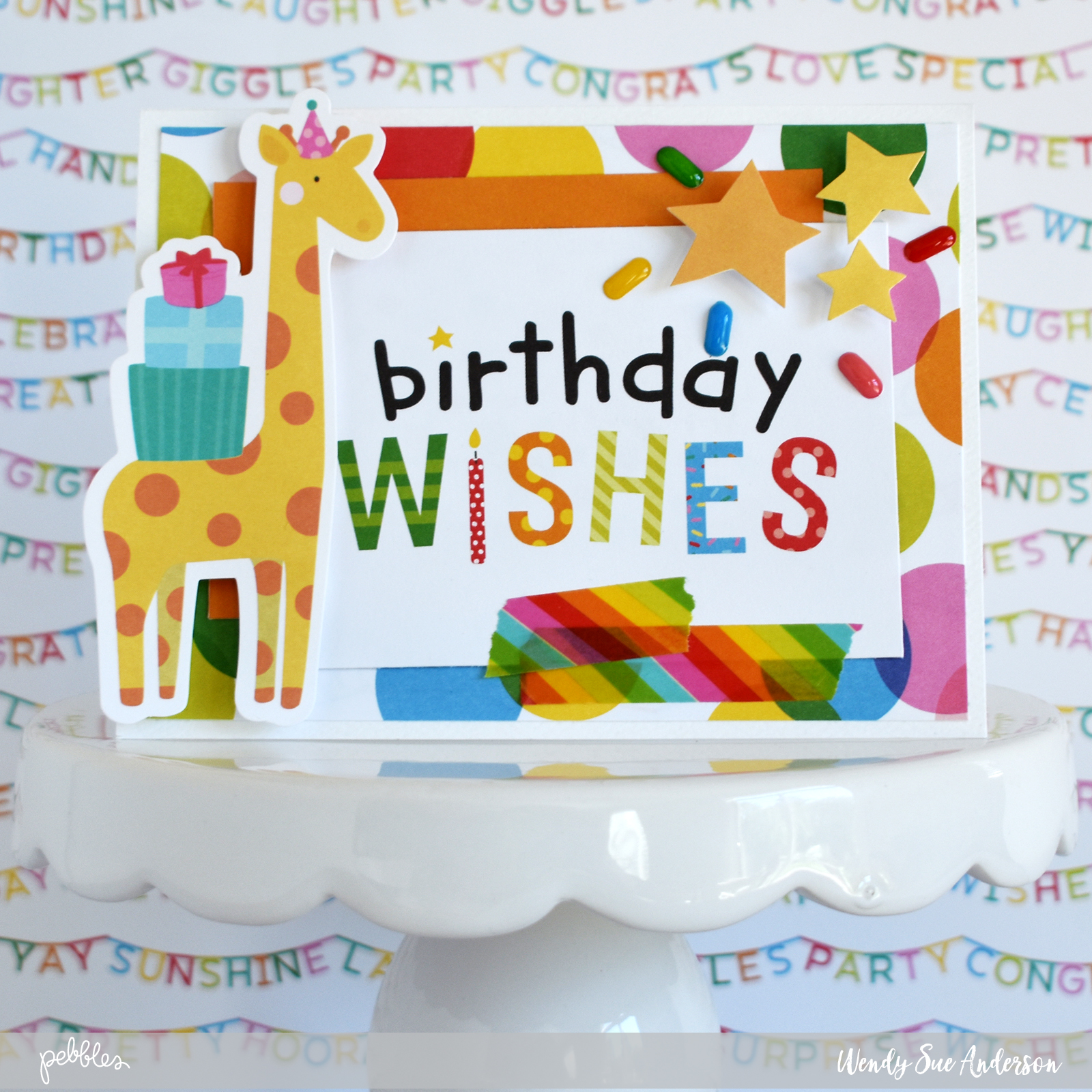 """Quick and Easy Birthday cards by @WendySueA featuring the """"Happy Hooray"""" collection by @PebblesInc."""