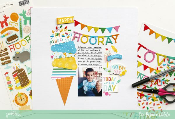 Document your kid's favorite meal like @evapizarrov did in this Ice Cream Layout featuring @pebblesinc #HappyHooray line. #pebblesinc #madewithpebbles