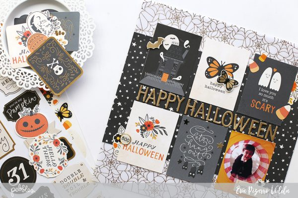 Use your 3x4 cards to make a Quick Halloween layout with the new Midnight Haunting collection by @pebblesinc pc:@evapizarrov