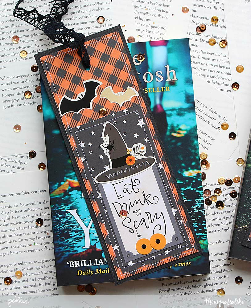 Quick Gift for book lovers by @moniqueliedtke with the #Midnight_Haunting_collection by @PebblesInc #madewithpebbles #pebblesinc #bookmark