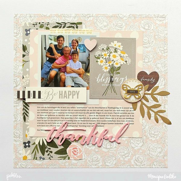 Heart of Home Thankful Layout created by @moniqueliedtke with the #Heart_Of_Home collection by @PebblesInc #madewithpebbles #pebblesinc #heart_of_home_thankful_layout