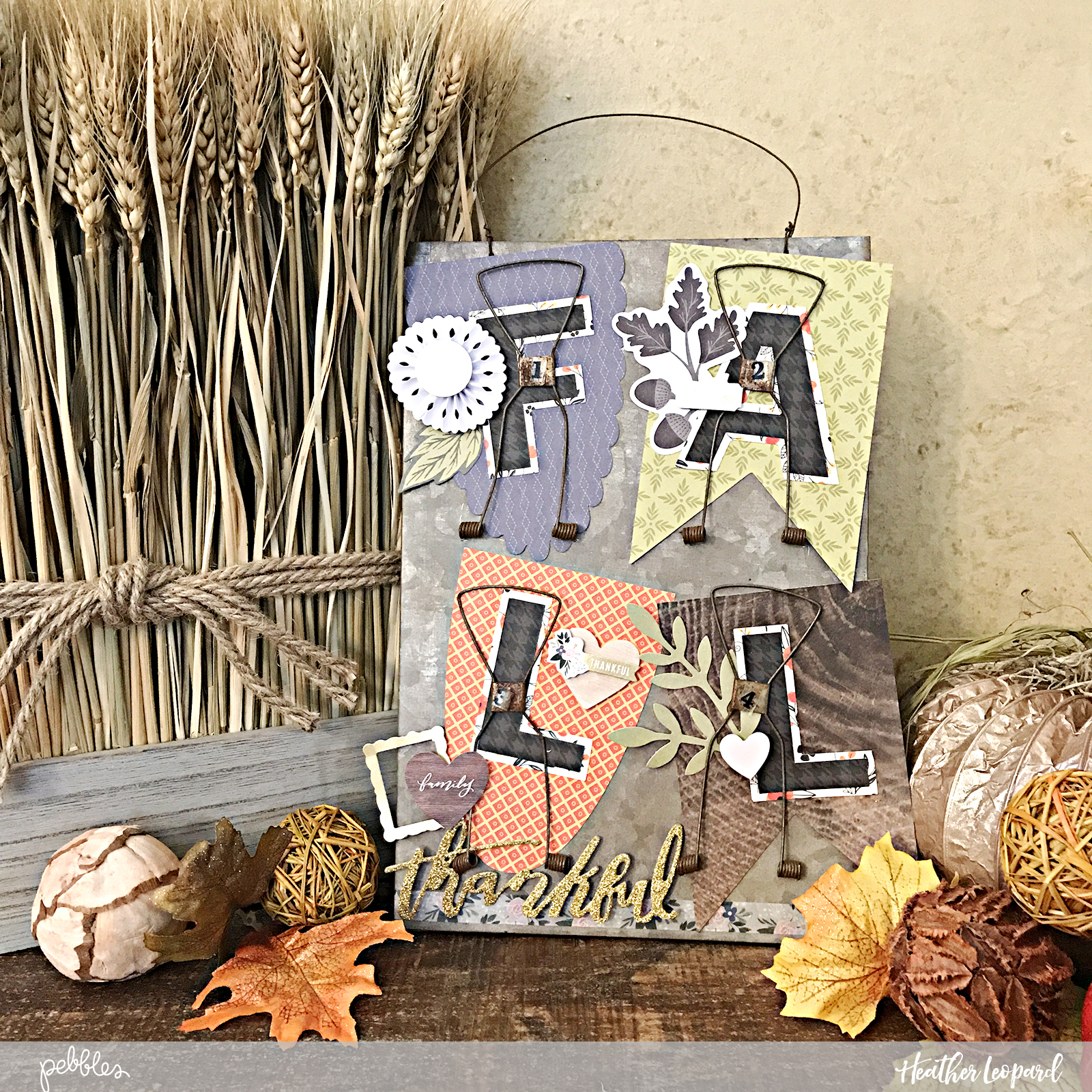 DIY Fall Home Decor by @heatherleopard using @PebblesInc #heartofhome and #midnighthaunting collections #DIY #fall #falldecor #madewithpebbles