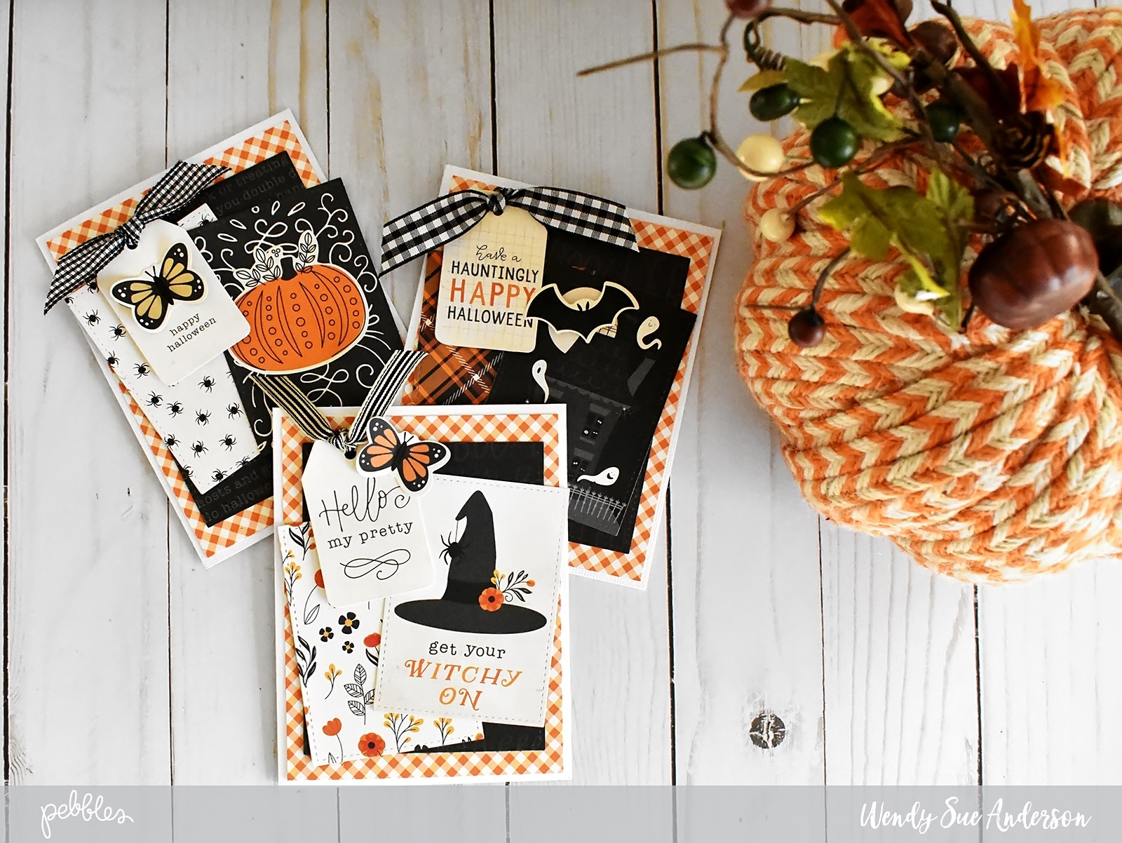 "Six Step Halloween Cards by @WendySue for @PebblesInc. with the ""Midnight Haunting"" collection"