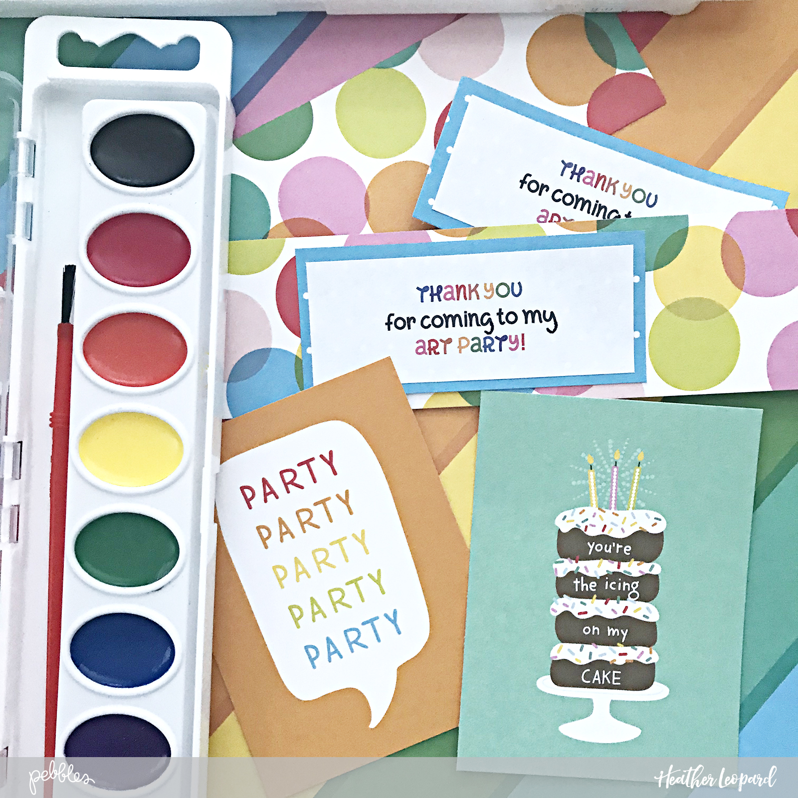 DIY art party birthday invitations and party favors by @HeatherLeopard using @PebblesInc #happyhooray collection #madewithpebbles #birthday #birthdayparty #birthdayinvitations #partyfavors