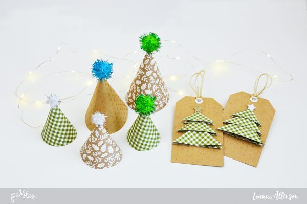 3D trimmings and tags for Christmas using @PebblesInc #MerryMerry Collection.