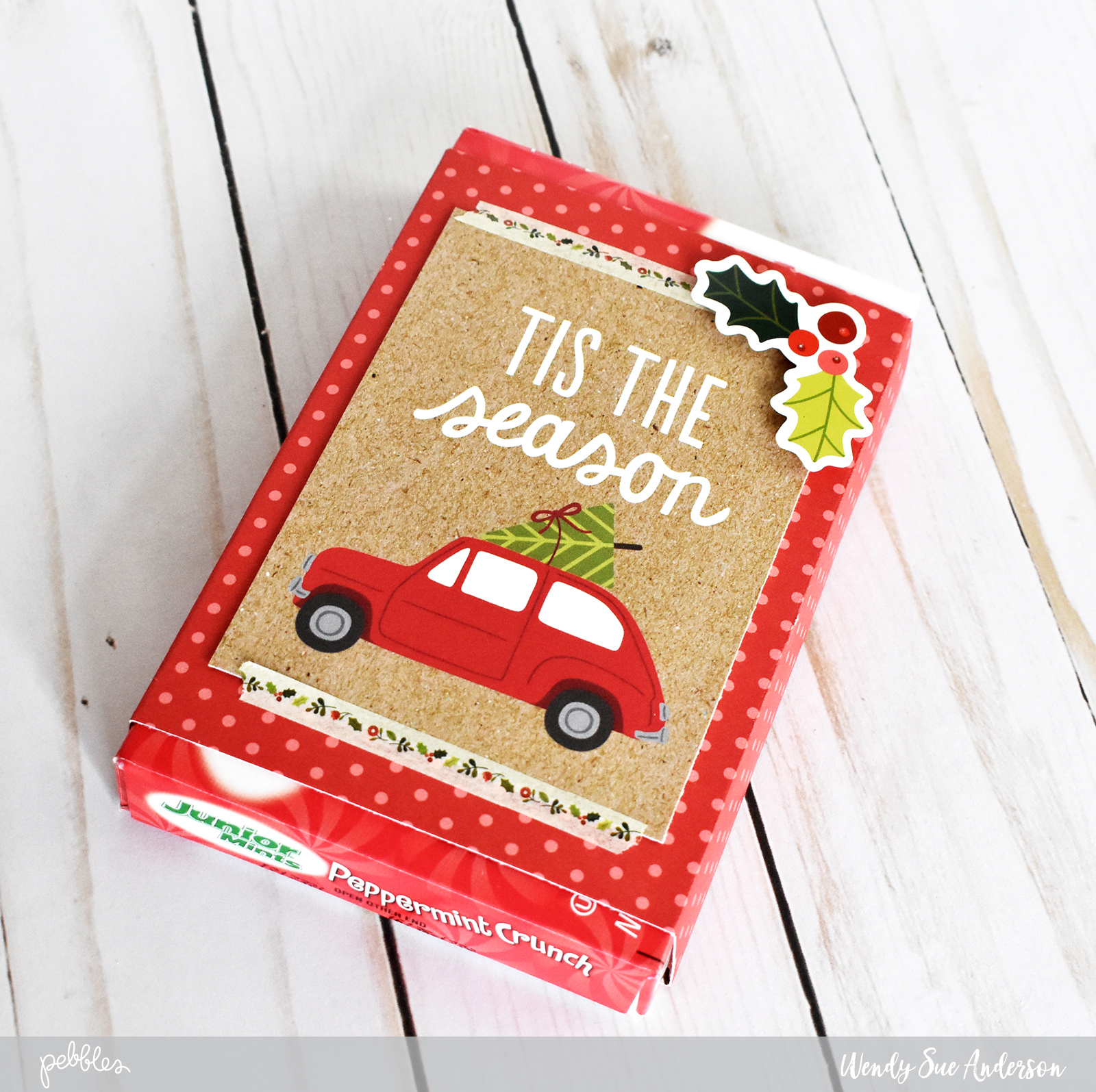 "Easy holiday party favors by @WendySueA with the ""Merry Merry"" Collection from @PebblesInc."