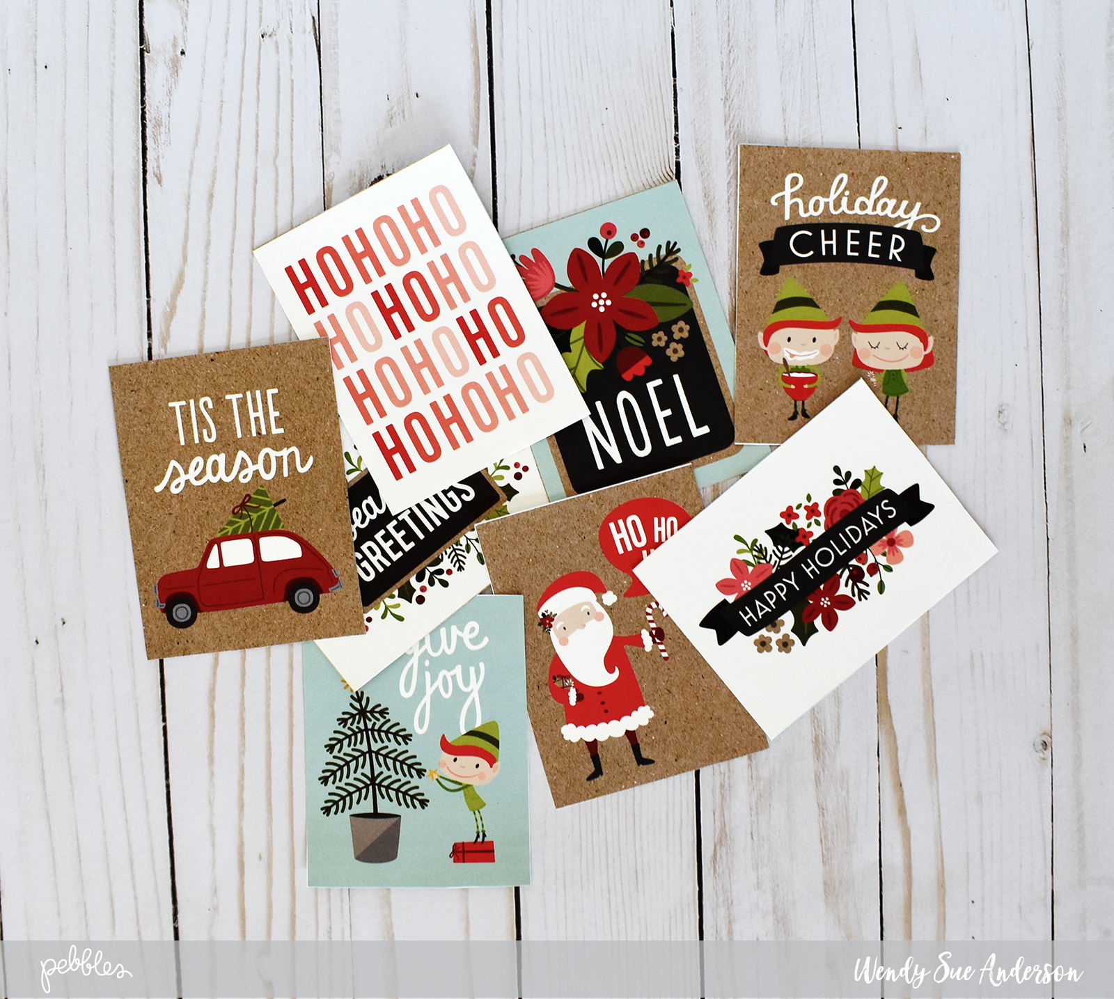 """quick and easy christmas cards by @WendySue with the """"Merry Merry"""" collection by @PebblesInc"""