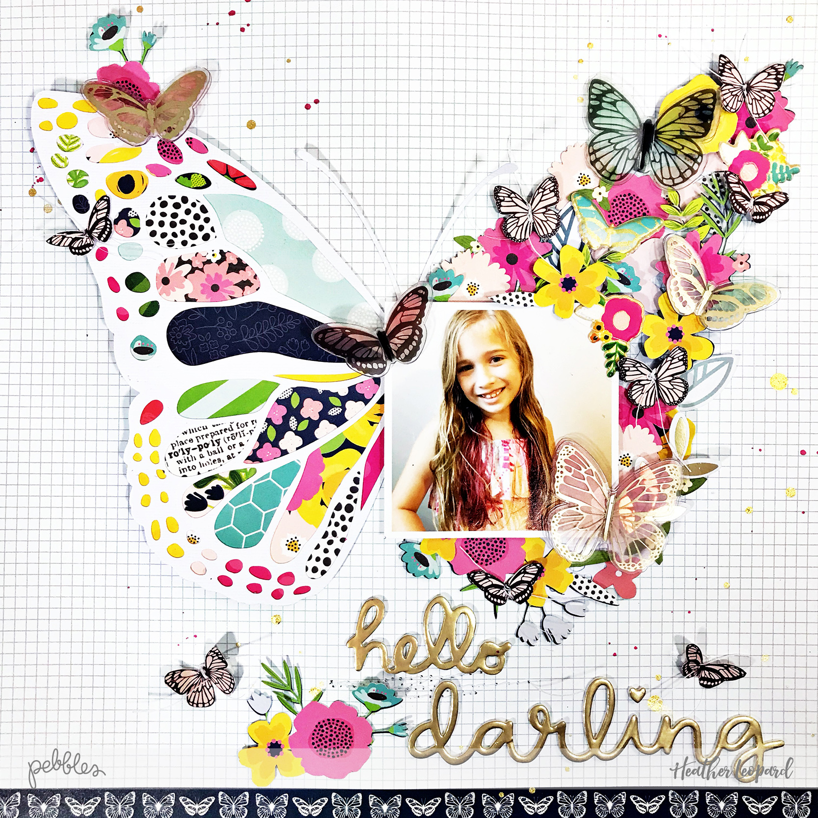 Butterfly scrapbooking layout andprocessvideo by @heatherleopard using @pebblesinc #jenhadfield #patioparty collection #madewithpebbles
