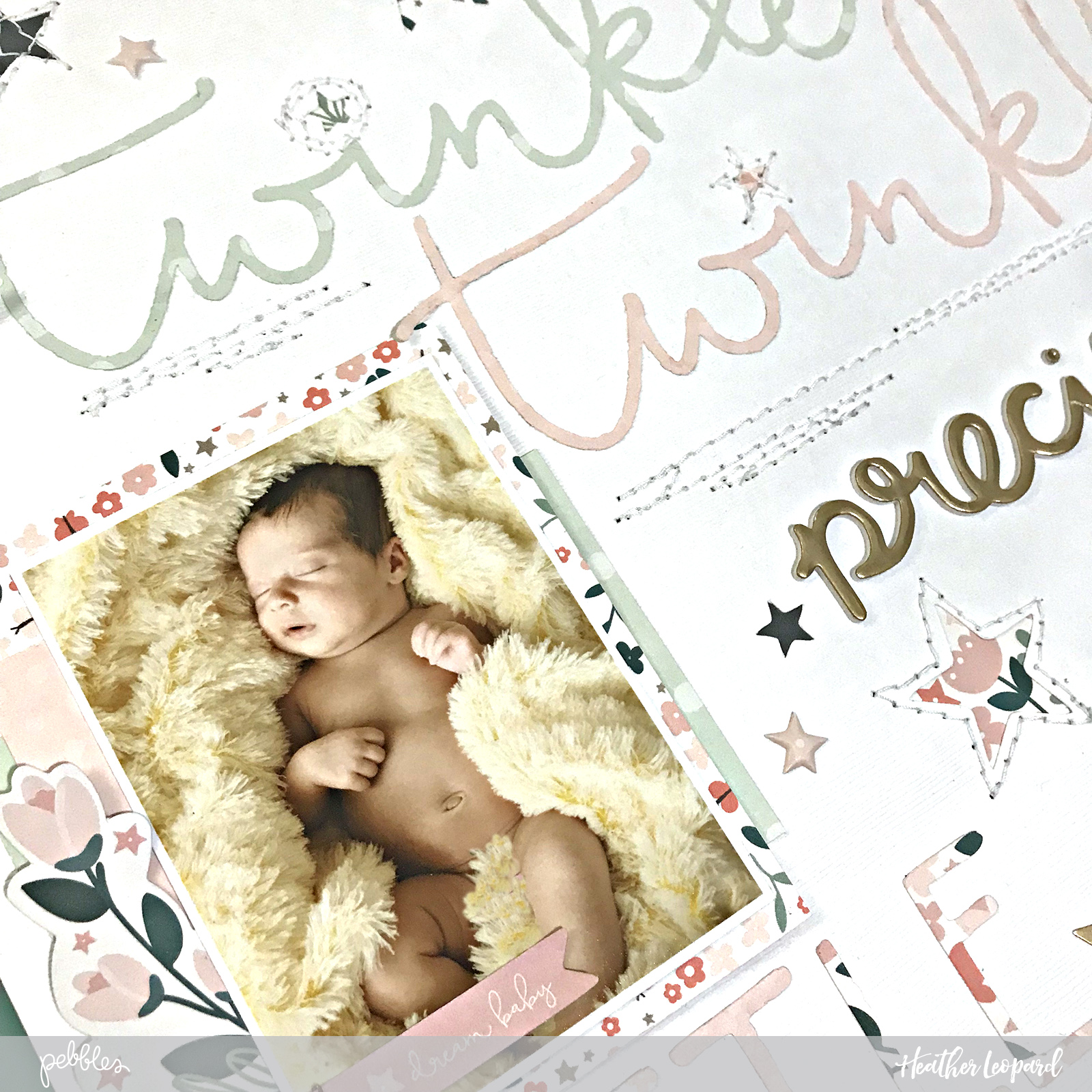 Baby Scrapbooking Layout by @heatherleopard using @pebblesinc #NightNight collection #madewithpebbles #baby #babyscrapbook
