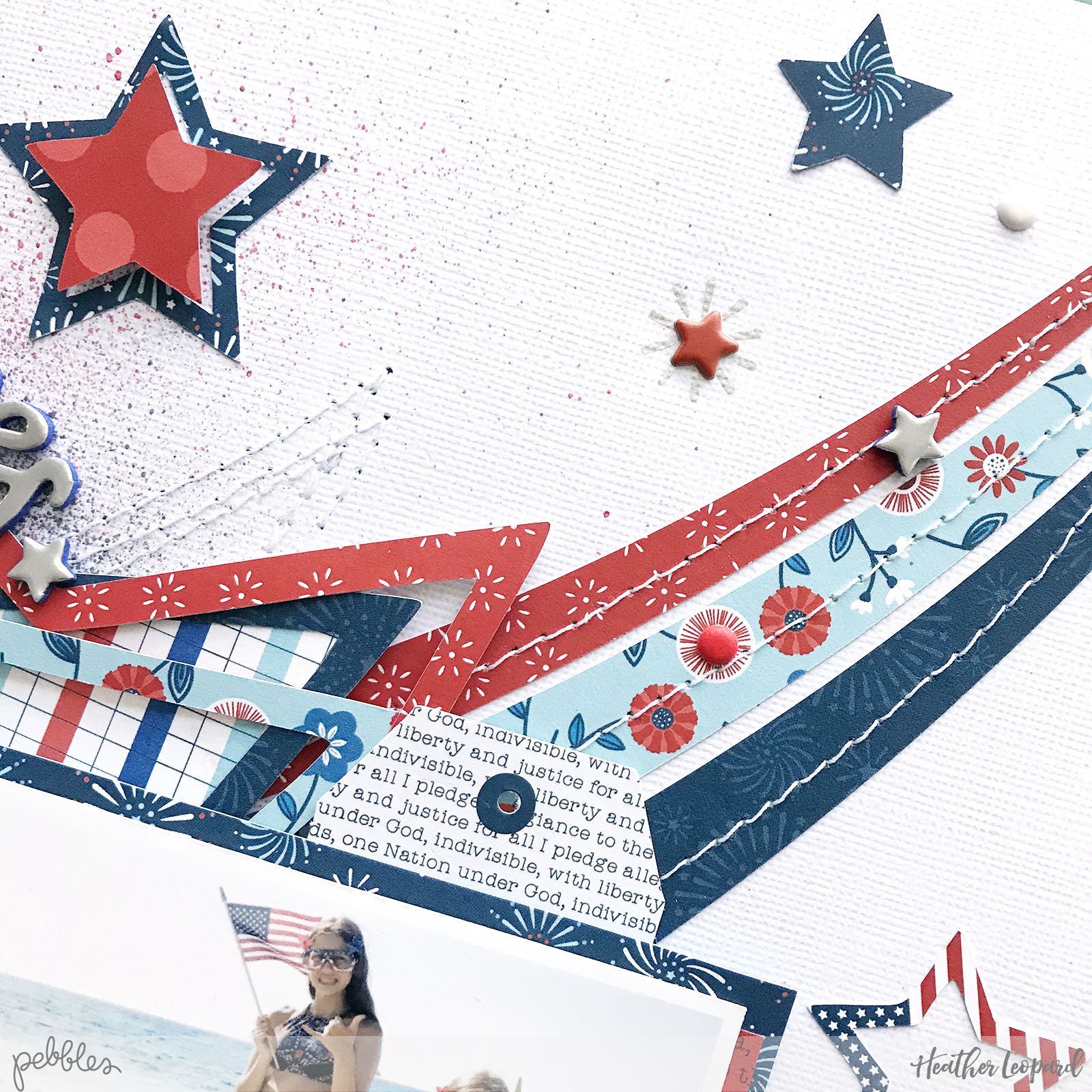 Stars and Stripes Scrapbooking Layout and Process Video by @heatherleopard using the @pebblesinc #LandThatILove collection #madewithpebbles #heatherleopard #fourthofjuly #patriotic #scrapbooking #scrapbook #starsandstripes #4thofjuly
