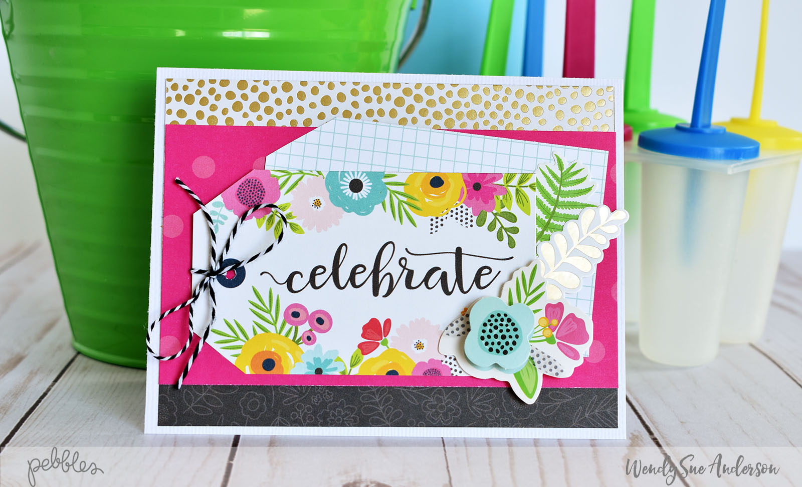 "Quick and easy spring-themed ""Happy Birthday"" cards by @WendySueA with the ""Patio Party"" collection from @PebblesInc."