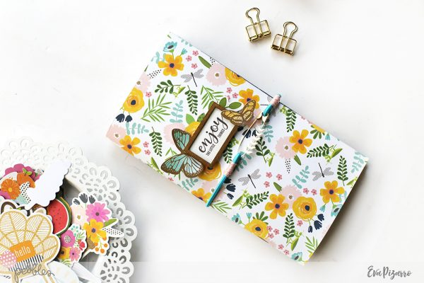 Create a DIY Travel Journal for your next trip with this tutorial from @evapizarrov using the new @pebblesinc Patio Party Collection #pebblesinc #madewithpebbles