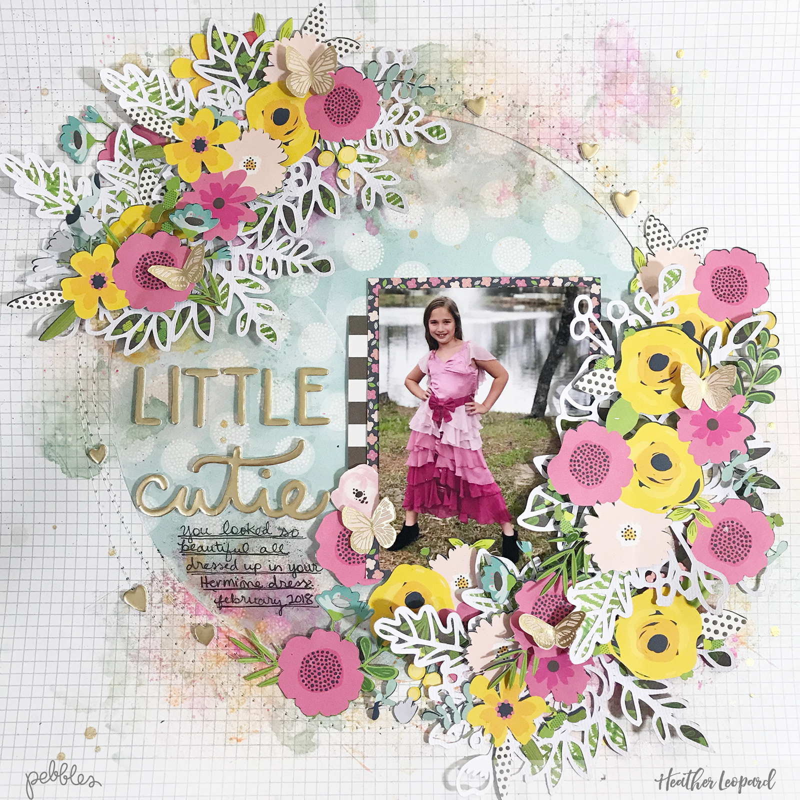 Floral Wreath scrapbooking layout by @heatherleopard using @pebblesinc #patioparty collection #scrapbooking #madewithpebbles #scrapbook #flowers #mixedmedia