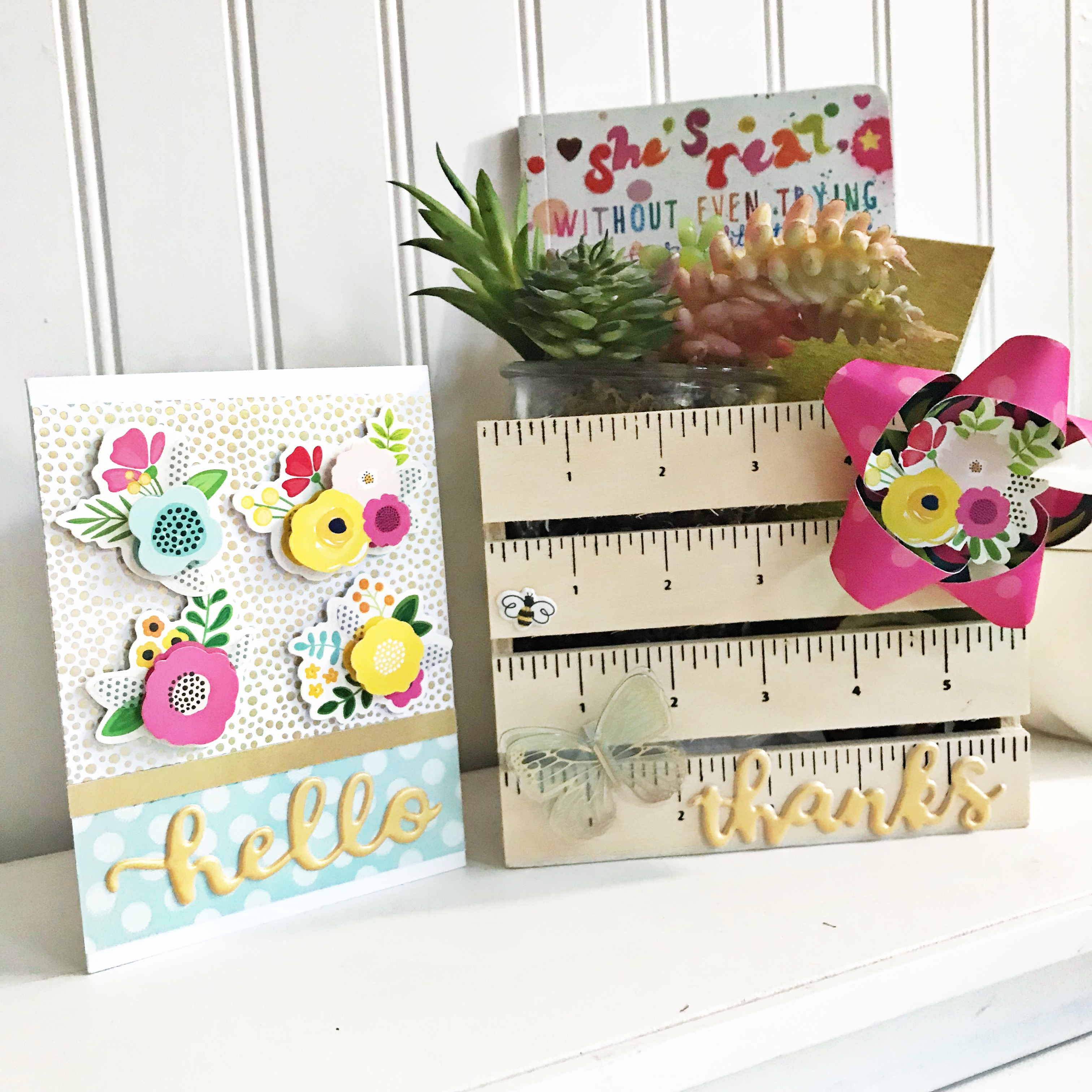Teacher Gift Idea by @HeatherLeopard using @pebblesinc #patioparty collection #madewithpebbles #cards #teacher #teachergift #gift