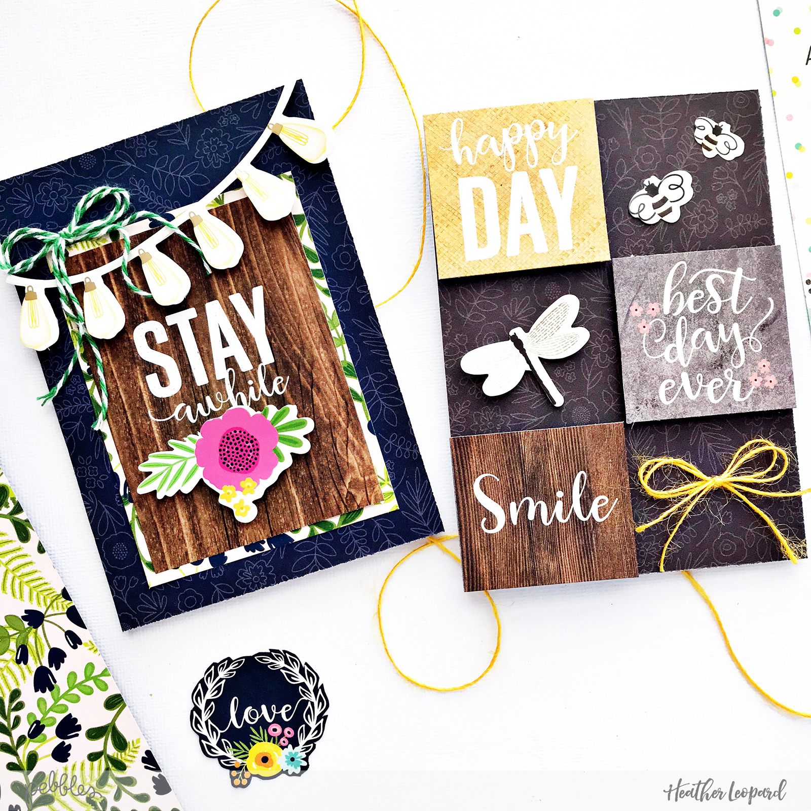 Masculine Cards by Heather Leopard Pebbles using @JenHadfield #PatioParty collection #cards #madewithpebbles