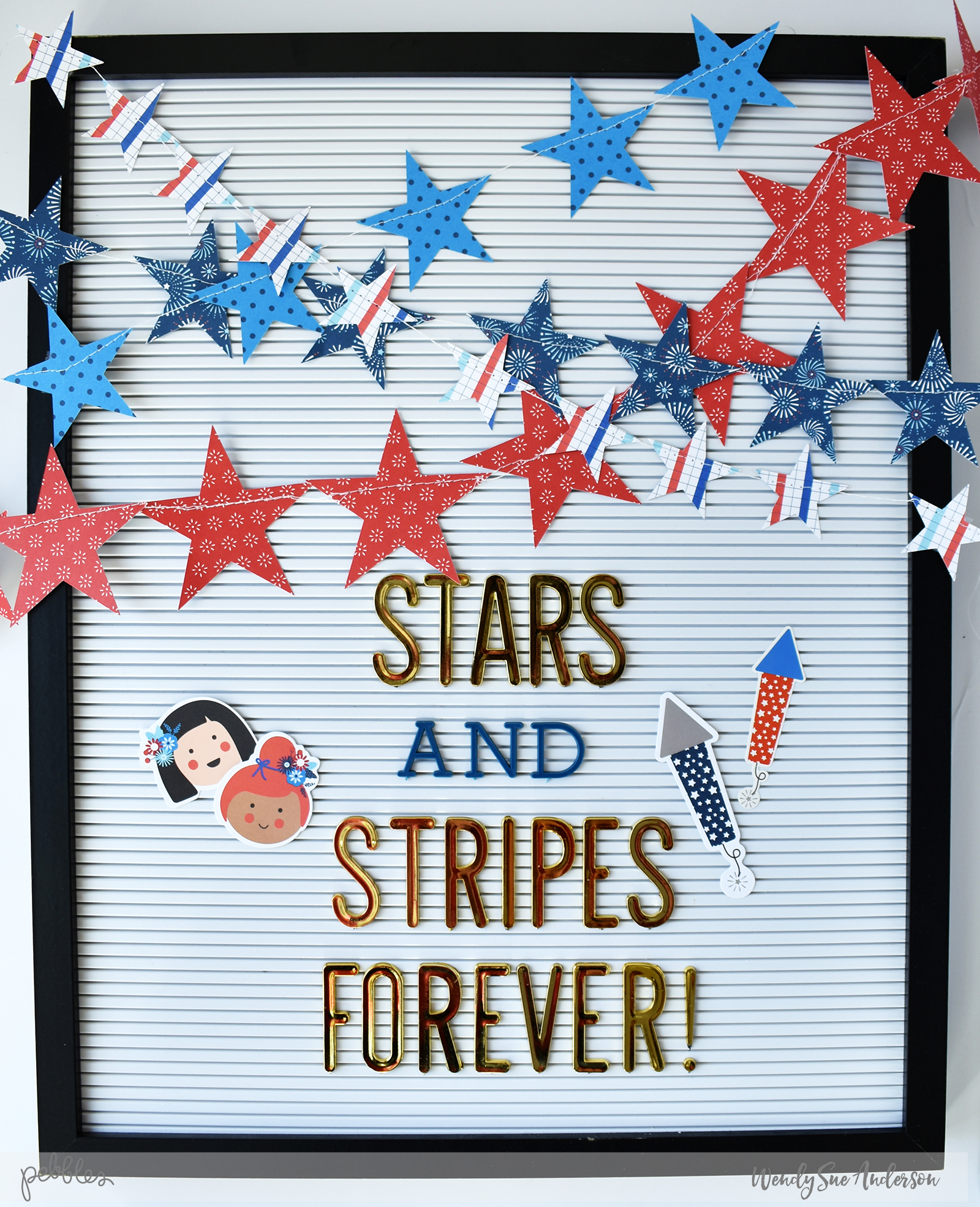 "4th of July Patriotic Decorated Letterboard by @WendySueA featuring the ""Land That I Love"" collection by @PebblesInc."