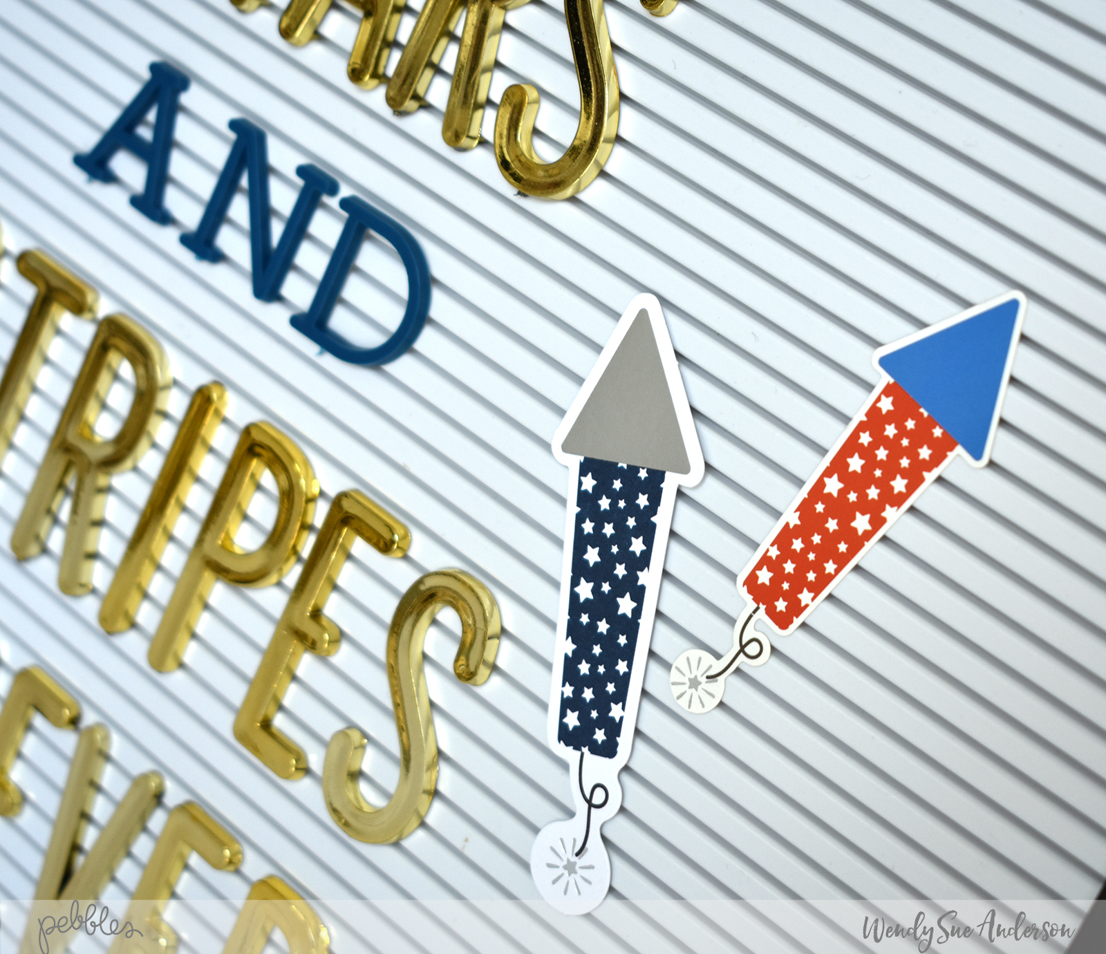 """4th of July Patriotic Decorated Letterboard by @WendySueA featuring the """"Land That I Love"""" collection by @PebblesInc."""